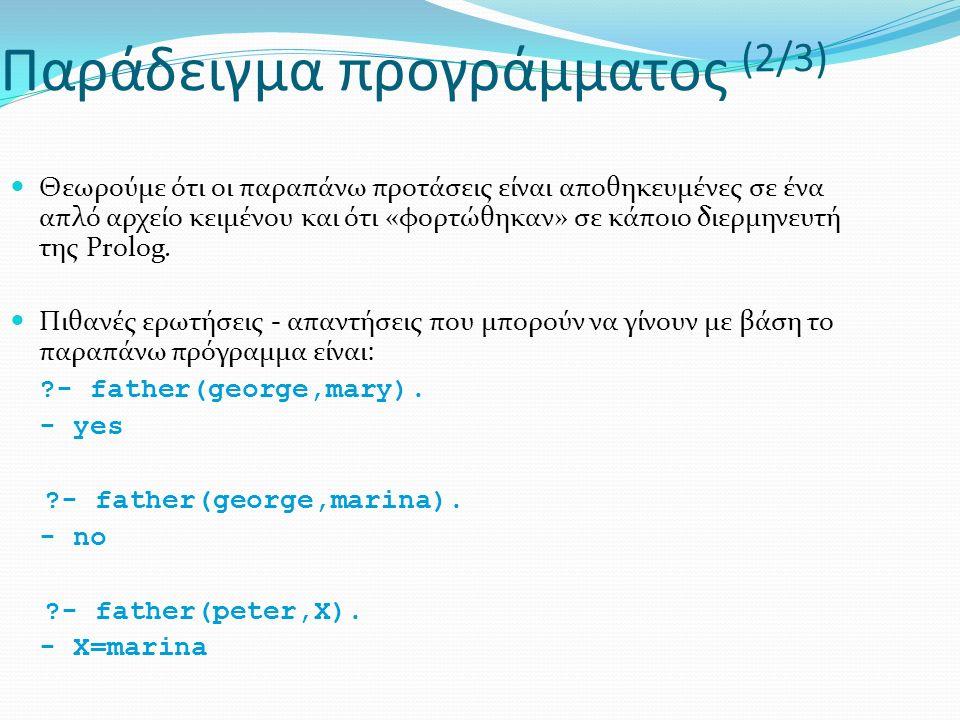 Παράδειγμα προγράμματος (2/3) Θεωρούμε ότι οι παραπάνω προτάσεις είναι αποθηκευμένες σε ένα απλό αρχείο κειμένου και ότι «φορτώθηκαν» σε κάποιο διερμηνευτή της Prolog.