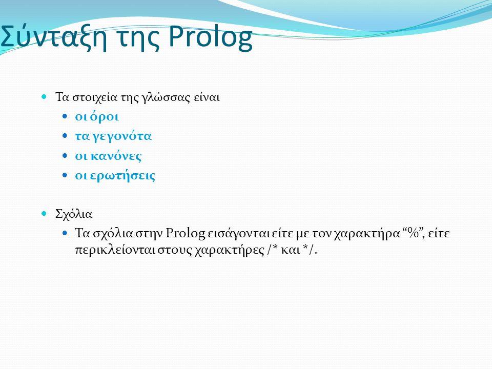 Σύνταξη της Prolog Τα στοιχεία της γλώσσας είναι οι όροι τα γεγονότα οι κανόνες οι ερωτήσεις Σχόλια Τα σχόλια στην Prolog εισάγονται είτε με τον χαρακτήρα % , είτε περικλείονται στους χαρακτήρες /* και */.