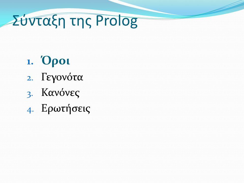 Σύνταξη της Prolog 1. Όροι 2. Γεγονότα 3. Κανόνες 4. Ερωτήσεις