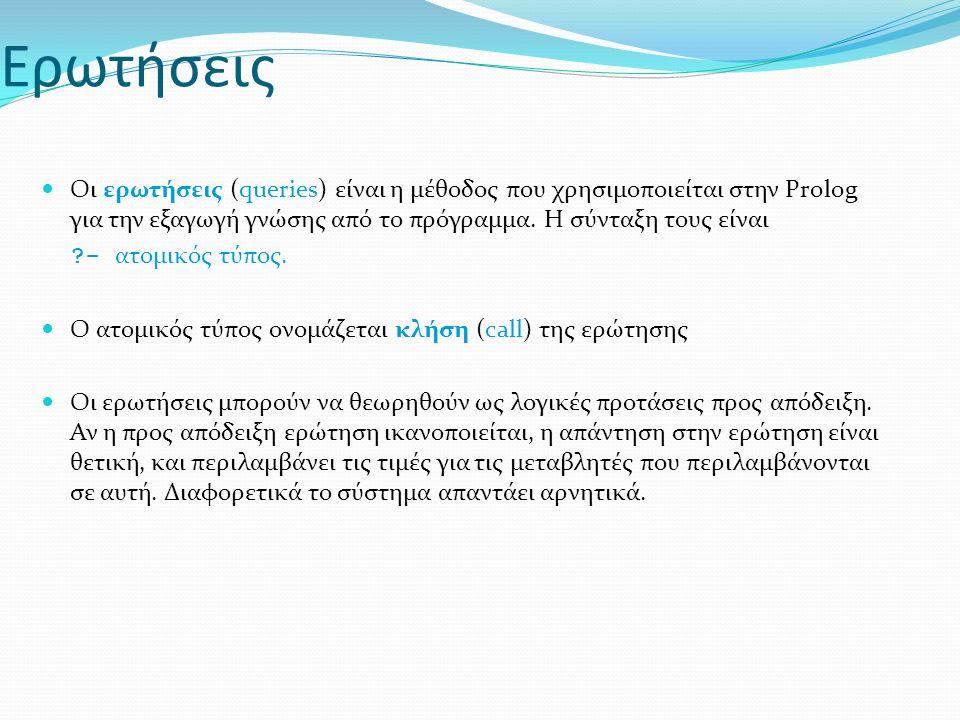 Ερωτήσεις Οι ερωτήσεις (queries) είναι η μέθοδος που χρησιμοποιείται στην Prolog για την εξαγωγή γνώσης από το πρόγραμμα.