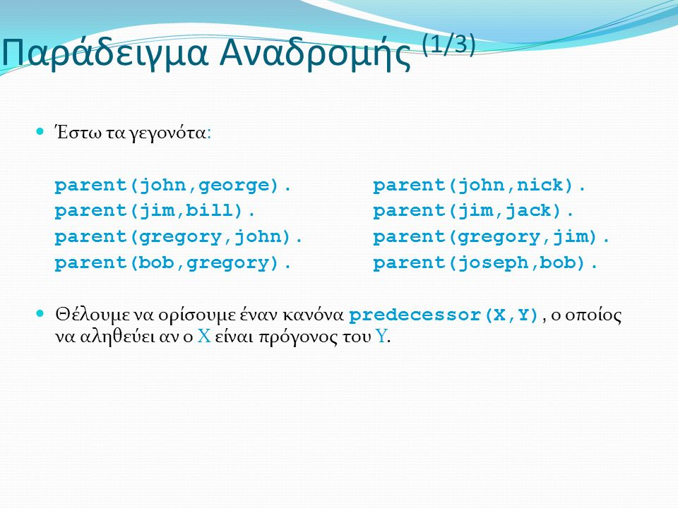 Παράδειγμα Αναδρομής (1/3) Έστω τα γεγονότα: parent(john,george). parent(john,nick). parent(jim,bill). parent(jim,jack). parent(gregory,john). parent(