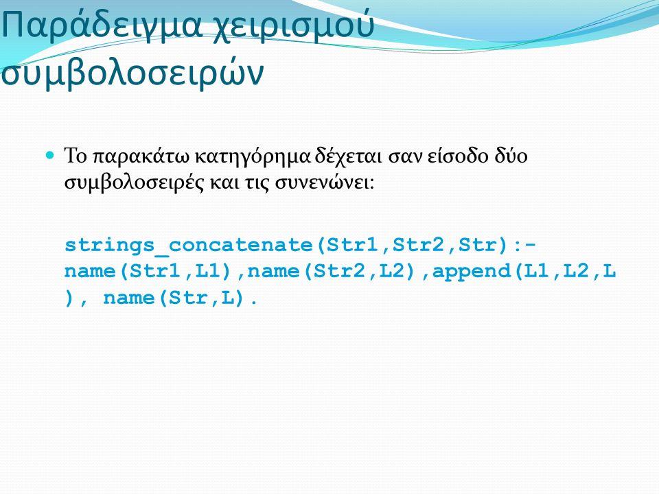 Παράδειγμα χειρισμού συμβολοσειρών Το παρακάτω κατηγόρημα δέχεται σαν είσοδο δύο συμβολοσειρές και τις συνενώνει: strings_concatenate(Str1,Str2,Str):- name(Str1,L1),name(Str2,L2),append(L1,L2,L ), name(Str,L).
