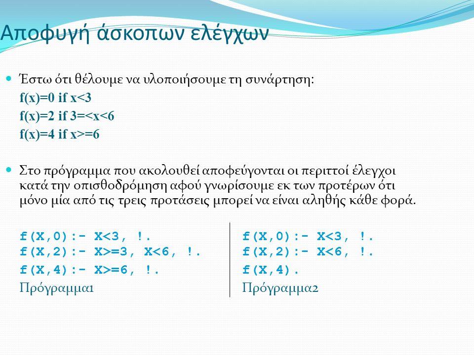 Αποφυγή άσκοπων ελέγχων Έστω ότι θέλουμε να υλοποιήσουμε τη συνάρτηση: f(x)=0 if x<3 f(x)=2 if 3=<x<6 f(x)=4 if x>=6 Στο πρόγραμμα που ακολουθεί αποφεύγονται οι περιττοί έλεγχοι κατά την οπισθοδρόμηση αφού γνωρίσουμε εκ των προτέρων ότι μόνο μία από τις τρεις προτάσεις μπορεί να είναι αληθής κάθε φορά.
