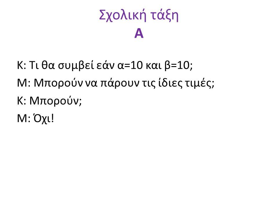 Σχολική τάξη Α Κ: Τι θα συμβεί εάν α=10 και β=10; Μ: Μπορούν να πάρουν τις ίδιες τιμές; Κ: Μπορούν; Μ: Όχι!