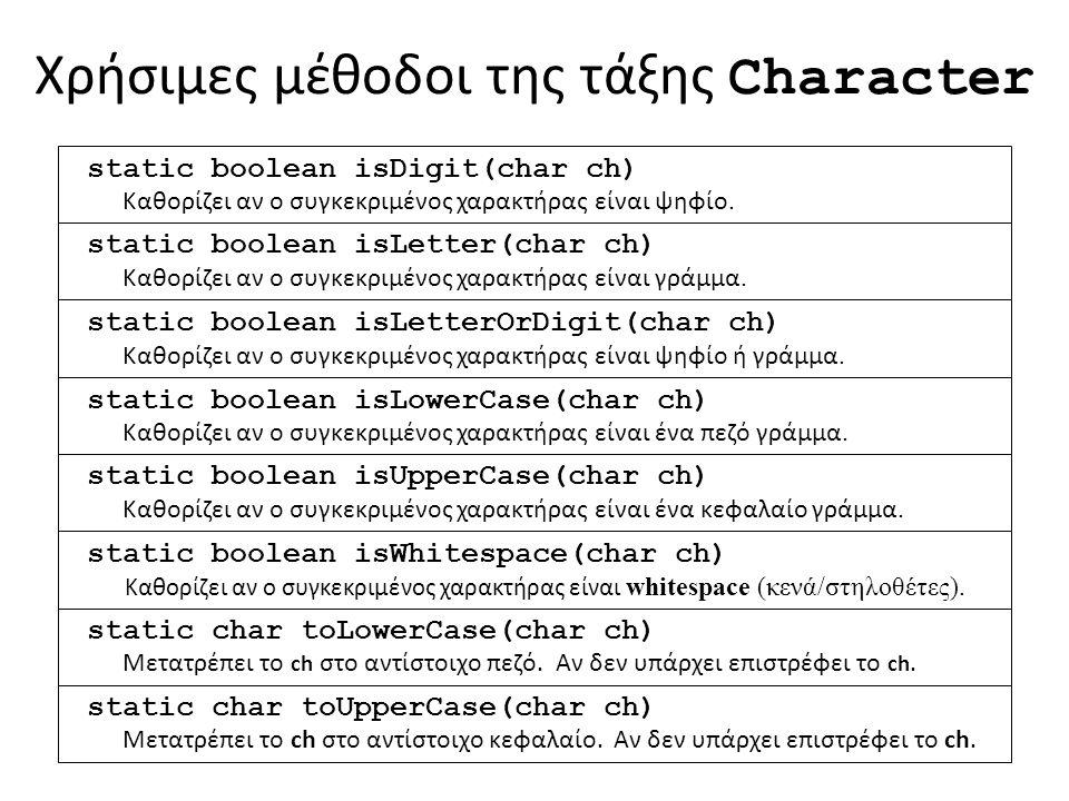 Χρήσιμες μέθοδοι της τάξης Character static boolean isDigit(char ch) Καθορίζει αν ο συγκεκριμένος χαρακτήρας είναι ψηφίο.