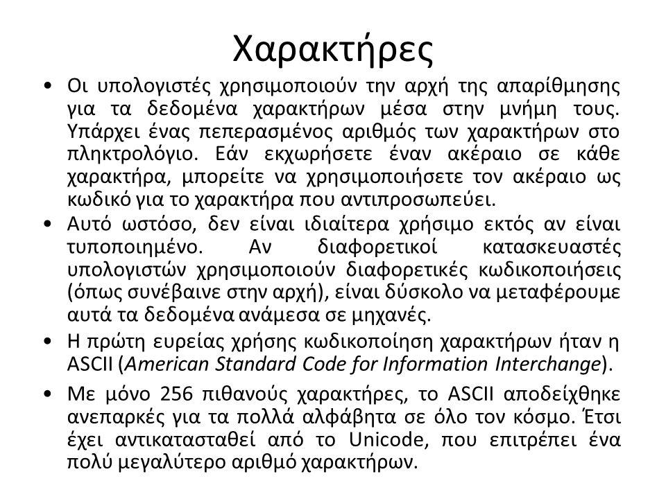 Το υποσύνολο ASCII του Unicode Η τιμή Unicode κάθε χαρακτήρα του πίνακα είναι το άθροισμα των οκταδικών αριθμών της εν λόγω γραμμής και στήλης.
