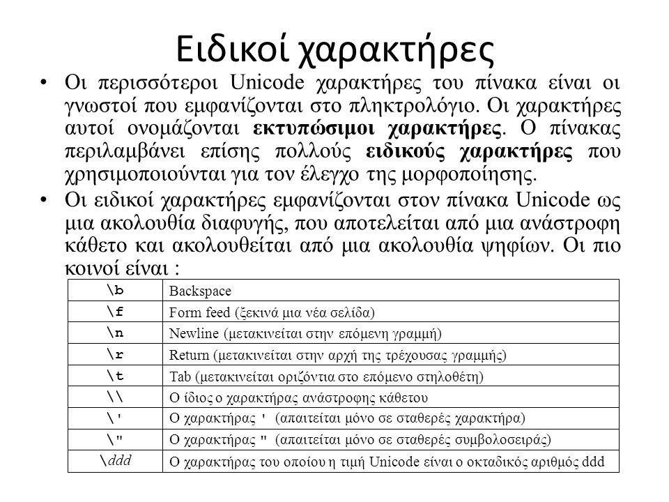 Ειδικοί χαρακτήρες Οι περισσότεροι Unicode χαρακτήρες του πίνακα είναι οι γνωστοί που εμφανίζονται στο πληκτρολόγιο.