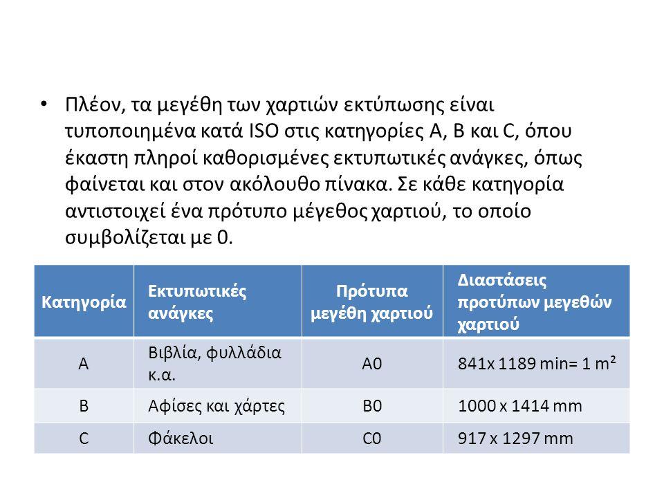 Πλέον, τα μεγέθη των χαρτιών εκτύπωσης είναι τυποποιημένα κατά ISO στις κατηγορίες Α, Β και C, όπου έκαστη πληροί καθορισμένες εκτυπωτικές ανάγκες, όπως φαίνεται και στον ακόλουθο πίνακα.