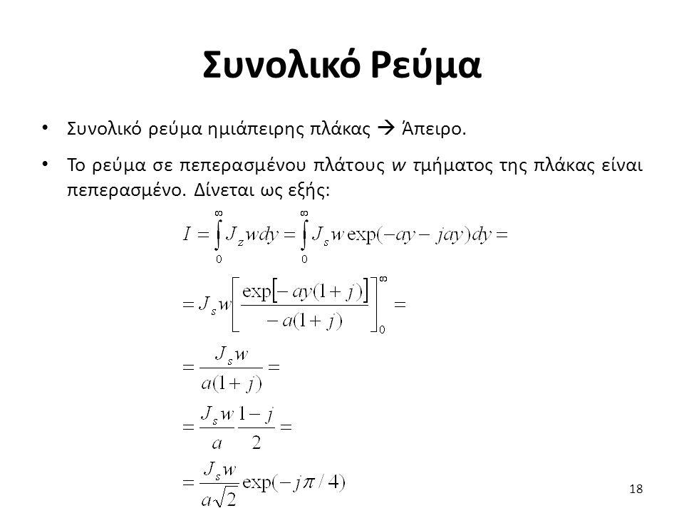 Συνολικό Ρεύμα Συνολικό ρεύμα ημιάπειρης πλάκας  Άπειρο. Το ρεύμα σε πεπερασμένου πλάτους w τμήματος της πλάκας είναι πεπερασμένο. Δίνεται ως εξής: 1