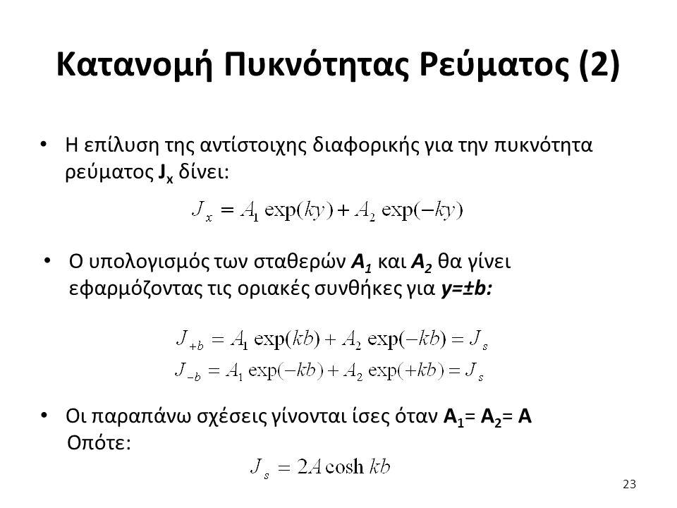 Κατανομή Πυκνότητας Ρεύματος (2) 23 Η επίλυση της αντίστοιχης διαφορικής για την πυκνότητα ρεύματος J x δίνει: Ο υπολογισμός των σταθερών A 1 και Α 2 θα γίνει εφαρμόζοντας τις οριακές συνθήκες για y=±b: Οι παραπάνω σχέσεις γίνονται ίσες όταν Α 1 = Α 2 = Α Οπότε: