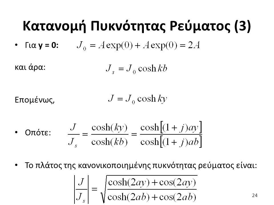Κατανομή Πυκνότητας Ρεύματος (3) 24 Για y = 0: και άρα: Επομένως, Οπότε: Το πλάτος της κανονικοποιημένης πυκνότητας ρεύματος είναι: