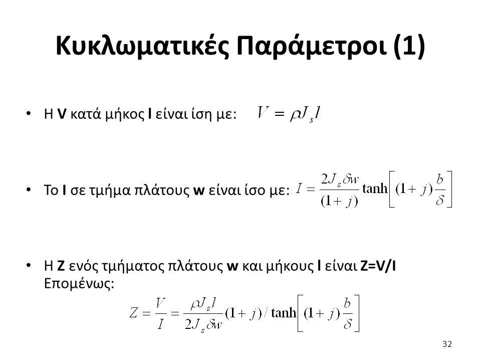 Κυκλωματικές Παράμετροι (1) Η V κατά μήκος l είναι ίση με: Το Ι σε τμήμα πλάτους w είναι ίσο με: Η Ζ ενός τμήματος πλάτους w και μήκους l είναι Z=V/I Επομένως: 32