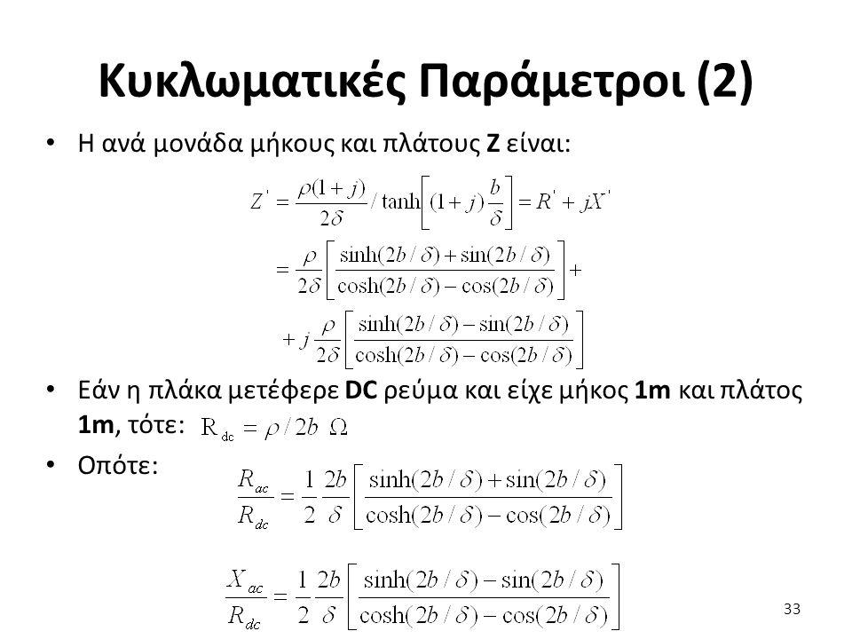 Κυκλωματικές Παράμετροι (2) Η ανά μονάδα μήκους και πλάτους Ζ είναι: Εάν η πλάκα μετέφερε DC ρεύμα και είχε μήκος 1m και πλάτος 1m, τότε: Οπότε: 33
