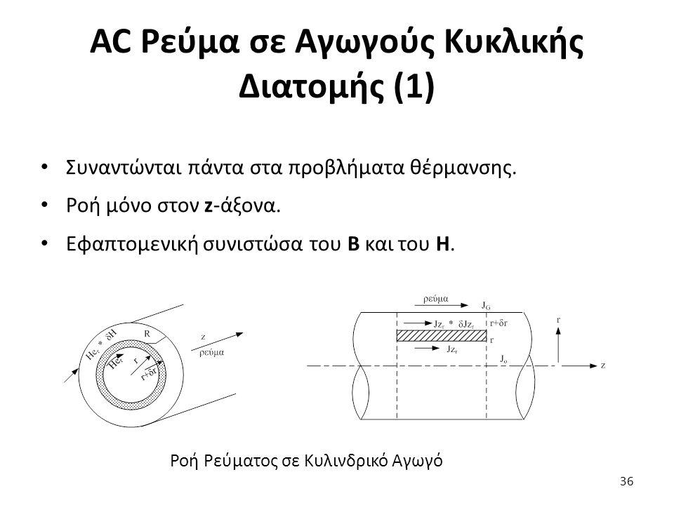 AC Ρεύμα σε Αγωγούς Κυκλικής Διατομής (1) Συναντώνται πάντα στα προβλήματα θέρμανσης. Ροή μόνο στον z-άξονα. Εφαπτομενική συνιστώσα του B και του Η. 3