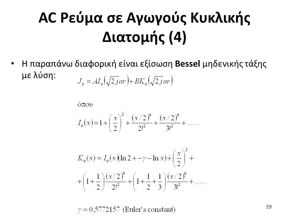 AC Ρεύμα σε Αγωγούς Κυκλικής Διατομής (4) Η παραπάνω διαφορική είναι εξίσωση Bessel μηδενικής τάξης με λύση: 39