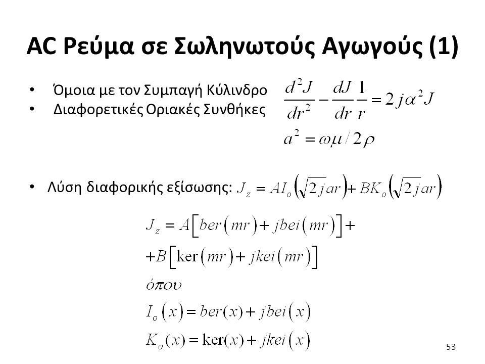 AC Ρεύμα σε Σωληνωτούς Αγωγούς (1) Όμοια με τον Συμπαγή Κύλινδρο Διαφορετικές Οριακές Συνθήκες Λύση διαφορικής εξίσωσης: 53
