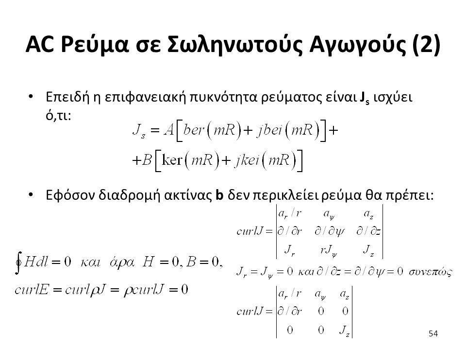 AC Ρεύμα σε Σωληνωτούς Αγωγούς (2) Επειδή η επιφανειακή πυκνότητα ρεύματος είναι J s ισχύει ό,τι: Εφόσον διαδρομή ακτίνας b δεν περικλείει ρεύμα θα πρέπει: 54