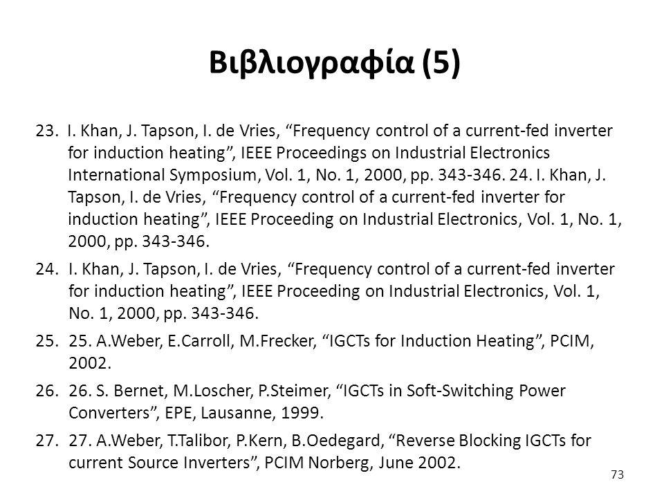 """73 Βιβλιογραφία (5) 23. I. Khan, J. Tapson, I. de Vries, """"Frequency control of a current-fed inverter for induction heating"""", IEEE Proceedings on Indu"""