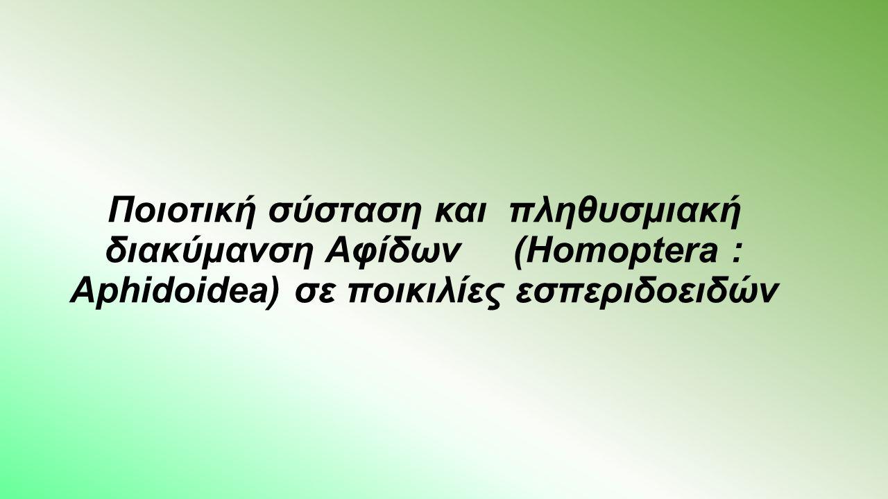 Ποιοτική σύσταση και πληθυσμιακή διακύμανση Αφίδων (Homoptera : Aphidoidea) σε ποικιλίες εσπεριδοειδών