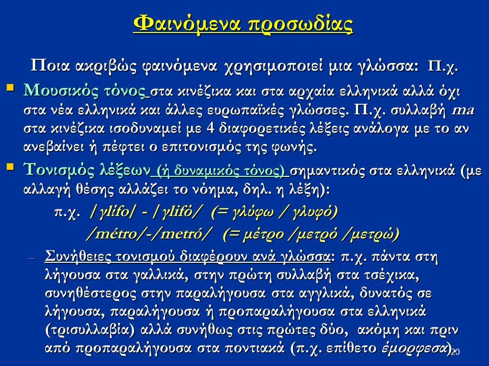 20 Φαινόμενα προσωδίας Ποια ακριβώς φαινόμενα χρησιμοποιεί μια γλώσσα: Π.χ.  Μουσικός τόνος στα κινέζικα και στα αρχαία ελληνικά αλλά όχι στα νέα ελλ