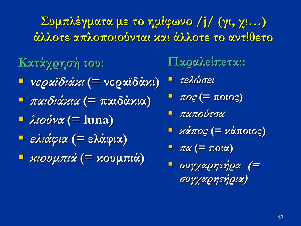 42 Συμπλέγματα με το ημίφωνο /j/ (γι, χι…) άλλοτε απλοποιούνται και άλλοτε το αντίθετο Κατάχρησή του:  νεραϊδιάκι (= νεραϊδάκι)  παιδιάκια (= παιδάκια)  λιούνα (= luna)  ελιάφια (= ελάφια)  κιουμπιά (= κουμπιά) Παραλείπεται:  τελώσει  πος (= ποιος)  παπούτσα  κάπος (= κάποιος)  πα (= ποια)  συγχαρητήρα (= συγχαρητήρια)