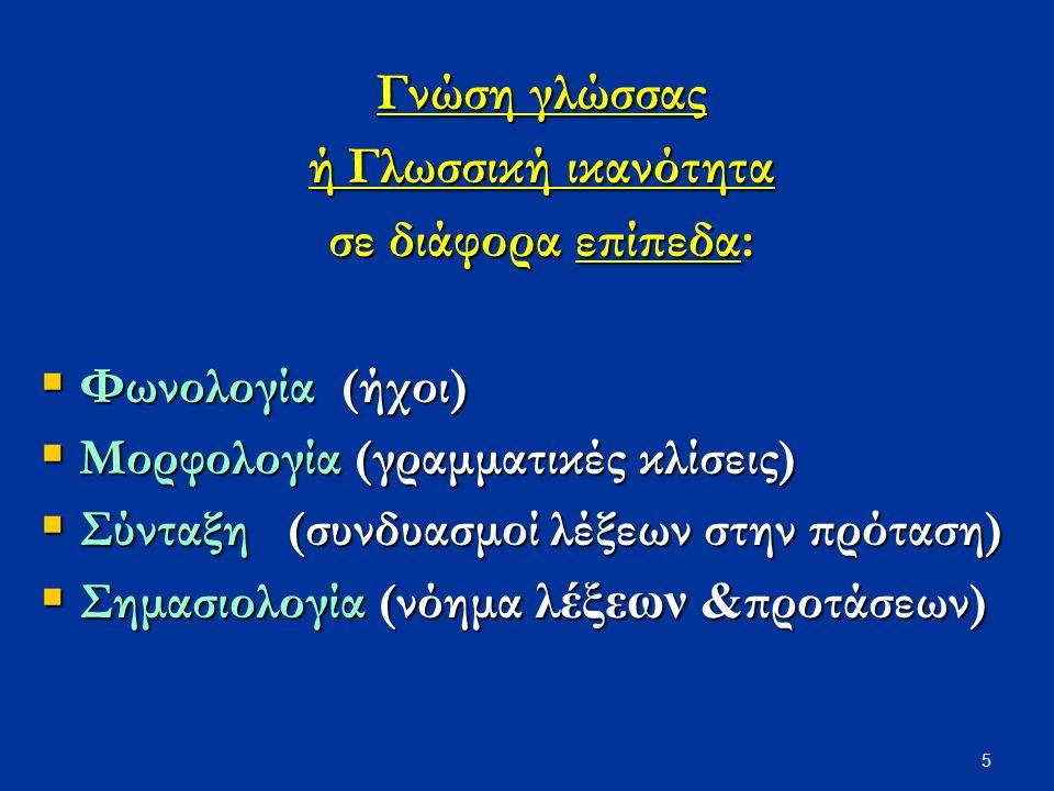 5 Γνώση γλώσσας ή Γλωσσική ικανότητα σε διάφορα επίπεδα:  Φωνολογία (ήχοι)  Μορφολογία (γραμματικές κλίσεις)  Σύνταξη (συνδυασμοί λέξεων στην πρότα