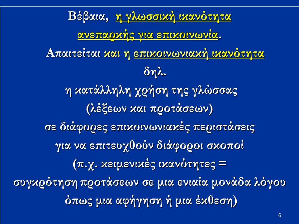 17 Παραδείγματα περιγραφής φωνημάτων με βάση φωνητικές ιδιότητες ή διαφοροποιητικά χαρακτηριστικά ήχου /p/ (π): Σύμφωνο Σύμφωνο Διχειλικό Διχειλικό Στιγμικό (= παρεμποδίζεται πλήρως στιγμιαία η έξοδος του αέρα) Στιγμικό (= παρεμποδίζεται πλήρως στιγμιαία η έξοδος του αέρα)/ο/: Φωνήεν Φωνήεν Οπίσθιο Οπίσθιο Μέσο Μέσο /f/ (φ): Σύμφωνο Χειλοδοντικό Μη στιγμικό (τριβόμενο) (= δεν παρεμποδίζεται πλήρως η έξοδος του αέρα) /i/: Φωνήεν Eμπρόσθιο Υψηλό