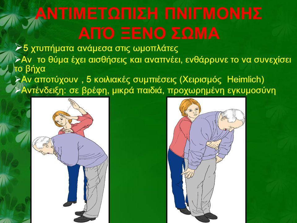 AΝΤΙΜΕΤΩΠΙΣΗ ΠΝΙΓΜΟΝΗΣ ΑΠΌ ΞΕΝΟ ΣΩΜΑ  5 χτυπήματα ανάμεσα στις ωμοπλάτες  Αν το θύμα έχει αισθήσεις και αναπνέει, ενθάρρυνε το να συνεχίσει το βήχα  Αν αποτύχουν, 5 κοιλιακές συμπιέσεις (Χειρισμός Ηeimlich)  Αντένδειξη: σε βρέφη, μικρά παιδιά, προχωρημένη εγκυμοσύνη