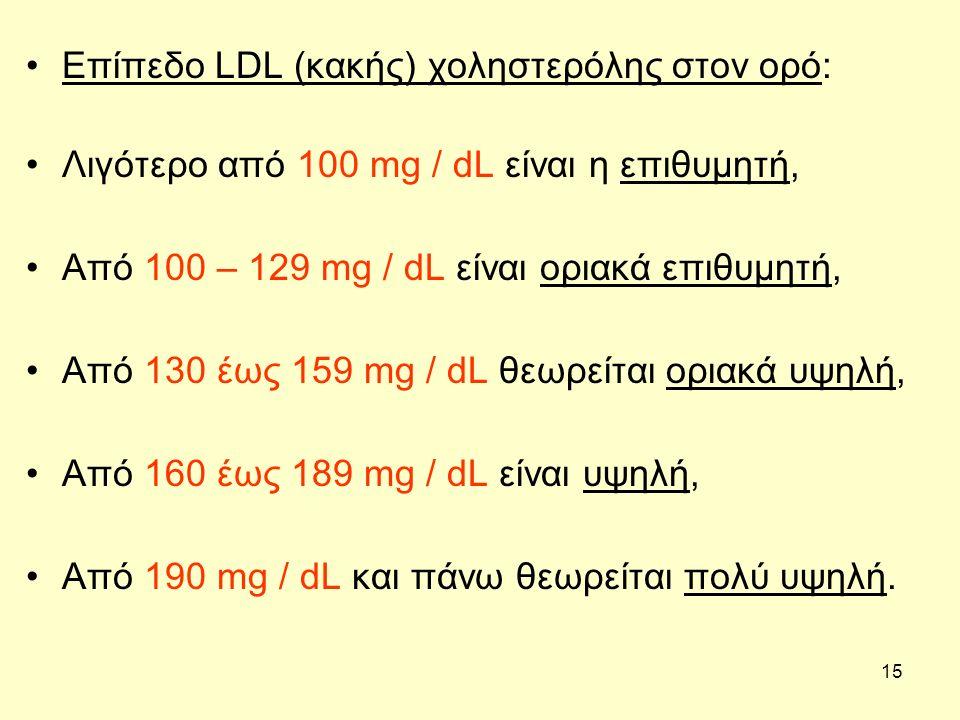 15 Επίπεδο LDL (κακής) χοληστερόλης στον ορό: Λιγότερο από 100 mg / dL είναι η επιθυμητή, Από 100 – 129 mg / dL είναι οριακά επιθυμητή, Από 130 έως 15