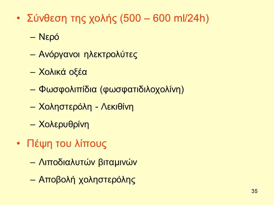 35 Σύνθεση της χολής (500 – 600 ml/24h) –Νερό –Ανόργανοι ηλεκτρολύτες –Χολικά οξέα –Φωσφολιπίδια (φωσφατιδιλοχολίνη) –Χοληστερόλη - Λεκιθίνη –Χολερυθρ