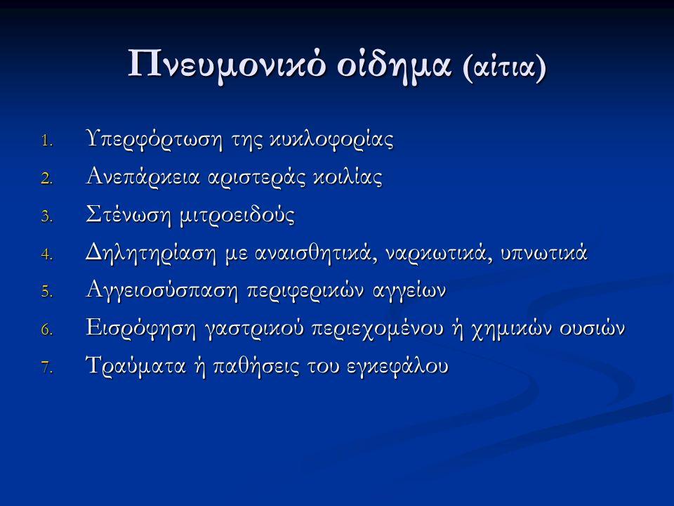 Πνευμονικό οίδημα (αίτια) 1. Υπερφόρτωση της κυκλοφορίας 2.