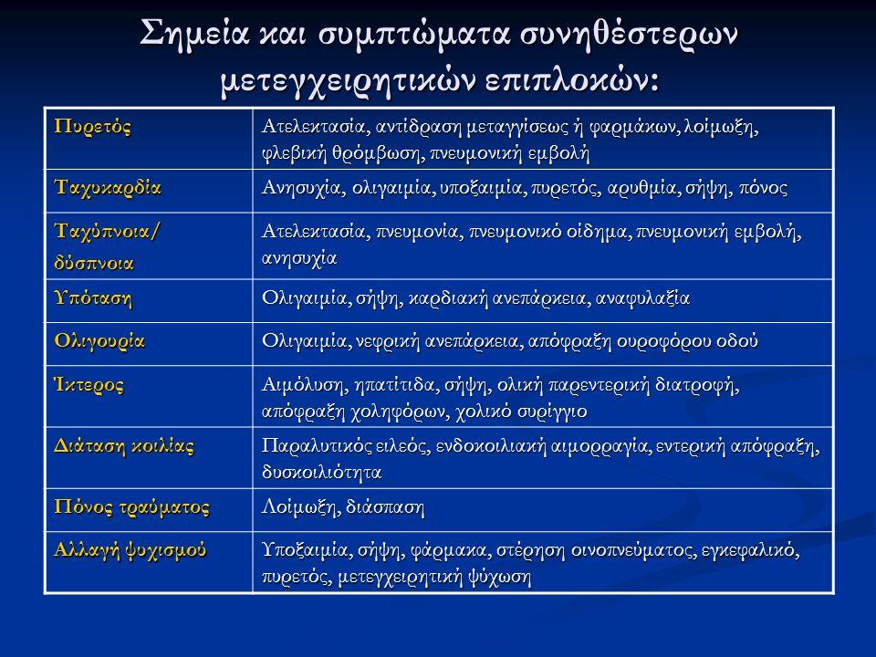 Σημεία και συμπτώματα συνηθέστερων μετεγχειρητικών επιπλοκών: Πυρετός Ατελεκτασία, αντίδραση μεταγγίσεως ή φαρμάκων, λοίμωξη, φλεβική θρόμβωση, πνευμο