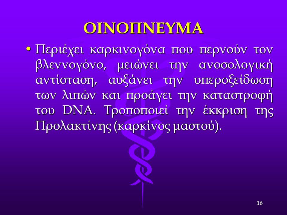 ΟΙΝΟΠΝΕΥΜΑ Περιέχει καρκινογόνα που περνούν τον βλεννογόνο, μειώνει την ανοσολογική αντίσταση, αυξάνει την υπεροξείδωση των λιπών και προάγει την καταστροφή του DNA.
