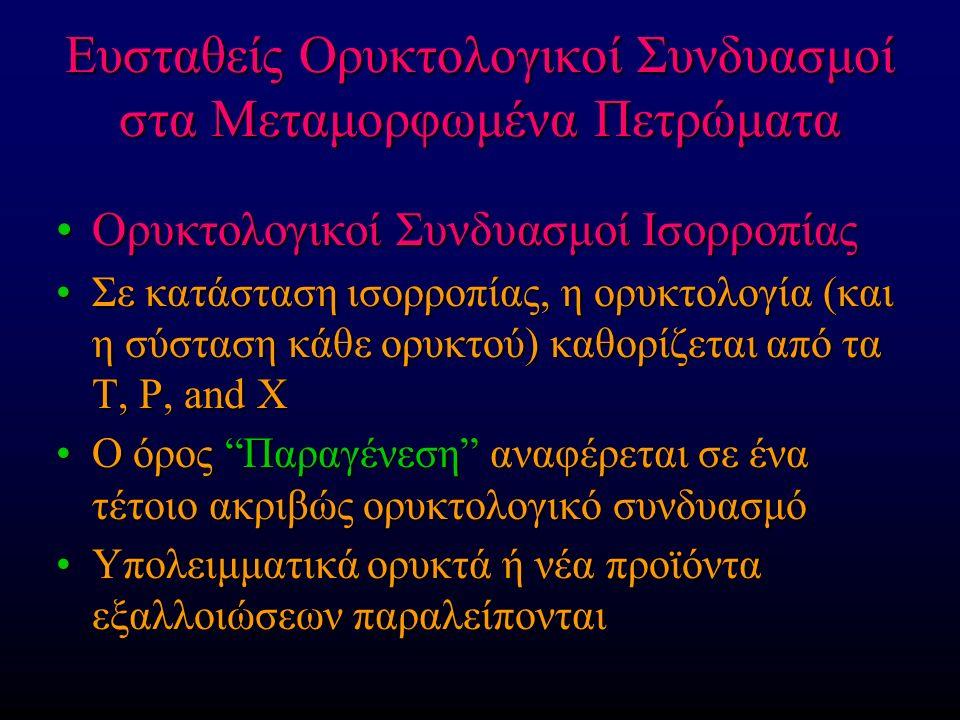 Ευσταθείς Ορυκτολογικοί Συνδυασμοί στα Μεταμορφωμένα Πετρώματα Ορυκτολογικοί Συνδυασμοί ΙσορροπίαςΟρυκτολογικοί Συνδυασμοί Ισορροπίας Σε κατάσταση ισορροπίας, η ορυκτολογία (και η σύσταση κάθε ορυκτού) καθορίζεται από τα T, P, and XΣε κατάσταση ισορροπίας, η ορυκτολογία (και η σύσταση κάθε ορυκτού) καθορίζεται από τα T, P, and X Ο όρος Παραγένεση αναφέρεται σε ένα τέτοιο ακριβώς ορυκτολογικό συνδυασμόΟ όρος Παραγένεση αναφέρεται σε ένα τέτοιο ακριβώς ορυκτολογικό συνδυασμό Υπολειμματικά ορυκτά ή νέα προϊόντα εξαλλοιώσεων παραλείπονταιΥπολειμματικά ορυκτά ή νέα προϊόντα εξαλλοιώσεων παραλείπονται