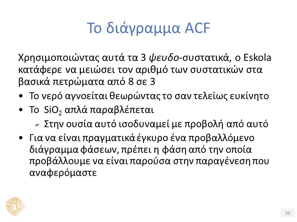 26 Το διάγραμμα ACF Χρησιμοποιώντας αυτά τα 3 ψευδο-συστατικά, ο Eskola κατάφερε να μειώσει τον αριθμό των συστατικών στα βασικά πετρώματα από 8 σε 3