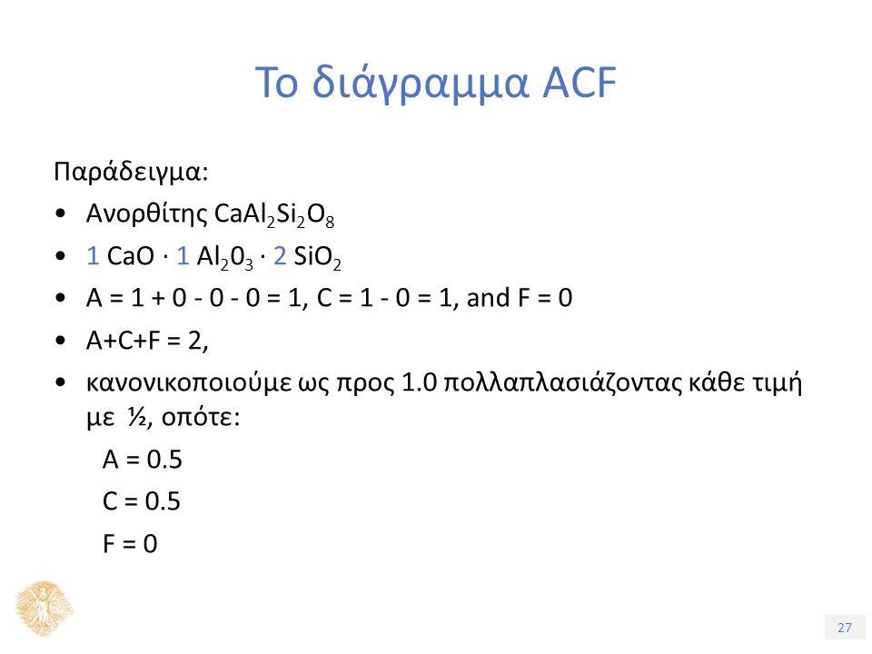 27 Το διάγραμμα ACF Παράδειγμα: Ανορθίτης CaAl 2 Si 2 O 8 1 CaO · 1 Al 2 0 3 · 2 SiO 2 A = 1 + 0 - 0 - 0 = 1, C = 1 - 0 = 1, and F = 0 A+C+F = 2, κανονικοποιούμε ως προς 1.0 πολλαπλασιάζοντας κάθε τιμή με ½, οπότε: A = 0.5 C = 0.5 F = 0