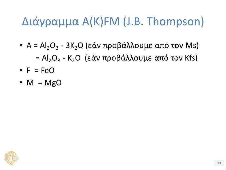 38 Διάγραμμα A(K)FM (J.B. Thompson) A = Al 2 O 3 - 3K 2 O (εάν προβάλλουμε από τον Ms) = Al 2 O 3 - K 2 O (εάν προβάλλουμε από τον Kfs) F = FeO M = Mg