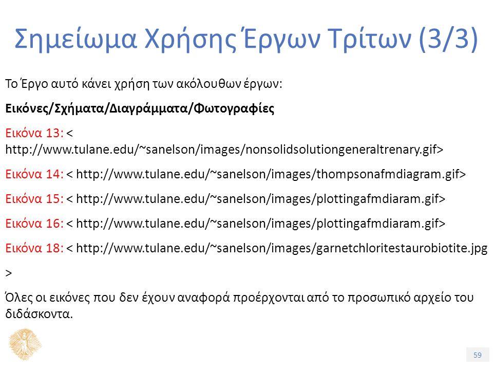 59 Σημείωμα Χρήσης Έργων Τρίτων (3/3) Το Έργο αυτό κάνει χρήση των ακόλουθων έργων: Εικόνες/Σχήματα/Διαγράμματα/Φωτογραφίες Εικόνα 13: Εικόνα 14: Εικόνα 15: Εικόνα 16: Εικόνα 18: < http://www.tulane.edu/~sanelson/images/garnetchloritestaurobiotite.jpg > Όλες οι εικόνες που δεν έχουν αναφορά προέρχονται από το προσωπικό αρχείο του διδάσκοντα.