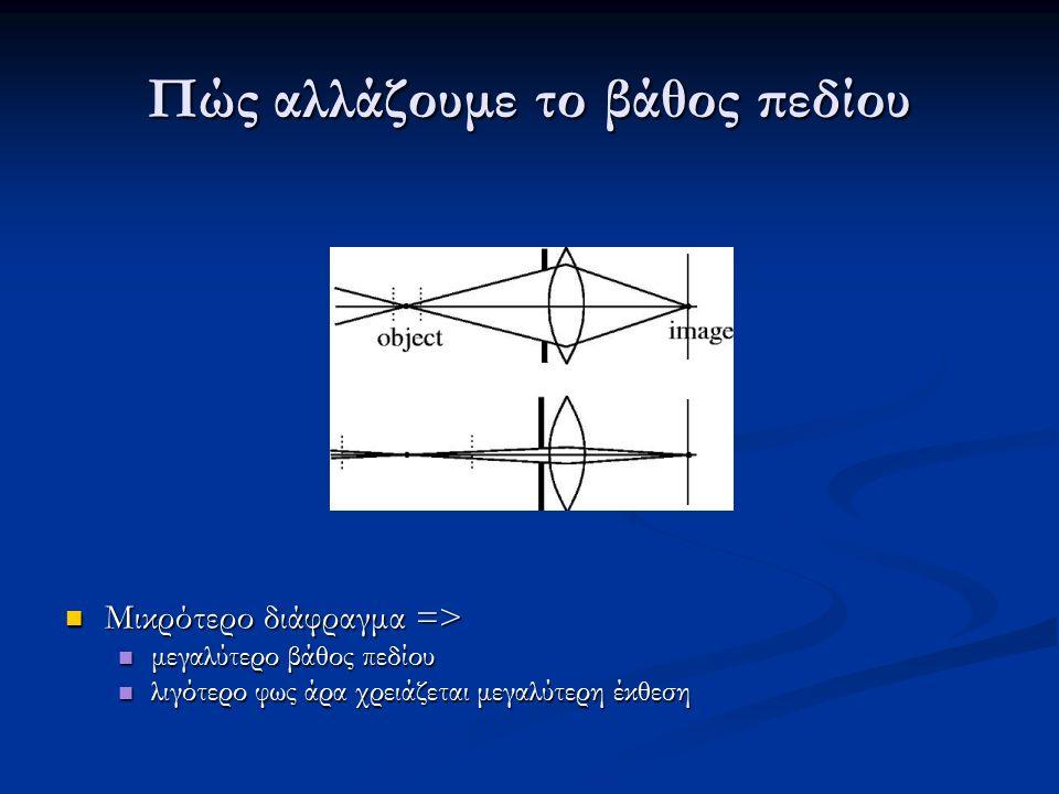 Πώς αλλάζουμε το βάθος πεδίου Μικρότερο διάφραγμα => Μικρότερο διάφραγμα => μεγαλύτερο βάθος πεδίου μεγαλύτερο βάθος πεδίου λιγότερο φως άρα χρειάζεται μεγαλύτερη έκθεση λιγότερο φως άρα χρειάζεται μεγαλύτερη έκθεση