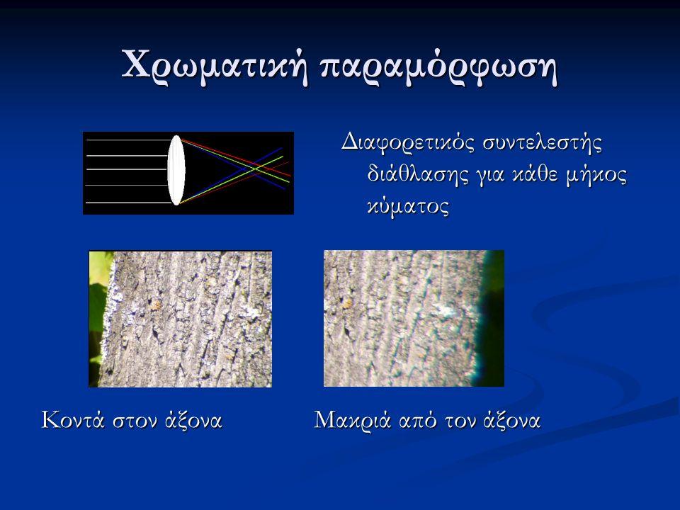 Χρωματική παραμόρφωση Κοντά στον άξονα Μακριά από τον άξονα Διαφορετικός συντελεστής διάθλασης για κάθε μήκος κύματος