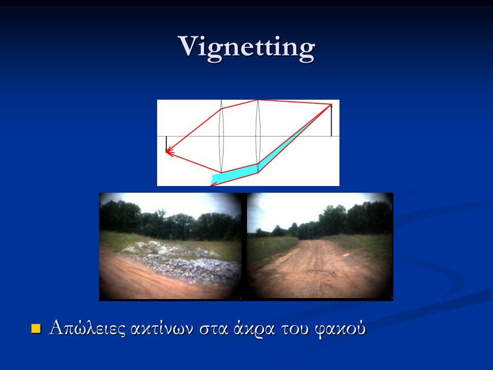 Vignetting Απώλειες ακτίνων στα άκρα του φακού Απώλειες ακτίνων στα άκρα του φακού