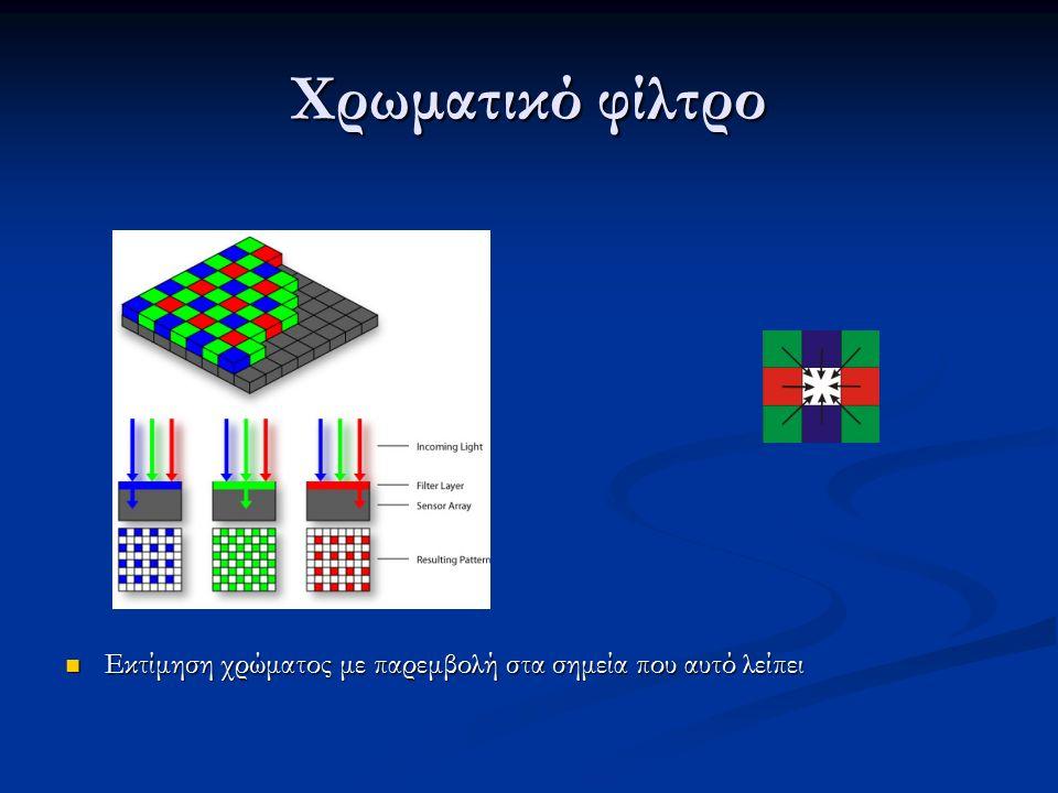 Χρωματικό φίλτρο Εκτίμηση χρώματος με παρεμβολή στα σημεία που αυτό λείπει Εκτίμηση χρώματος με παρεμβολή στα σημεία που αυτό λείπει