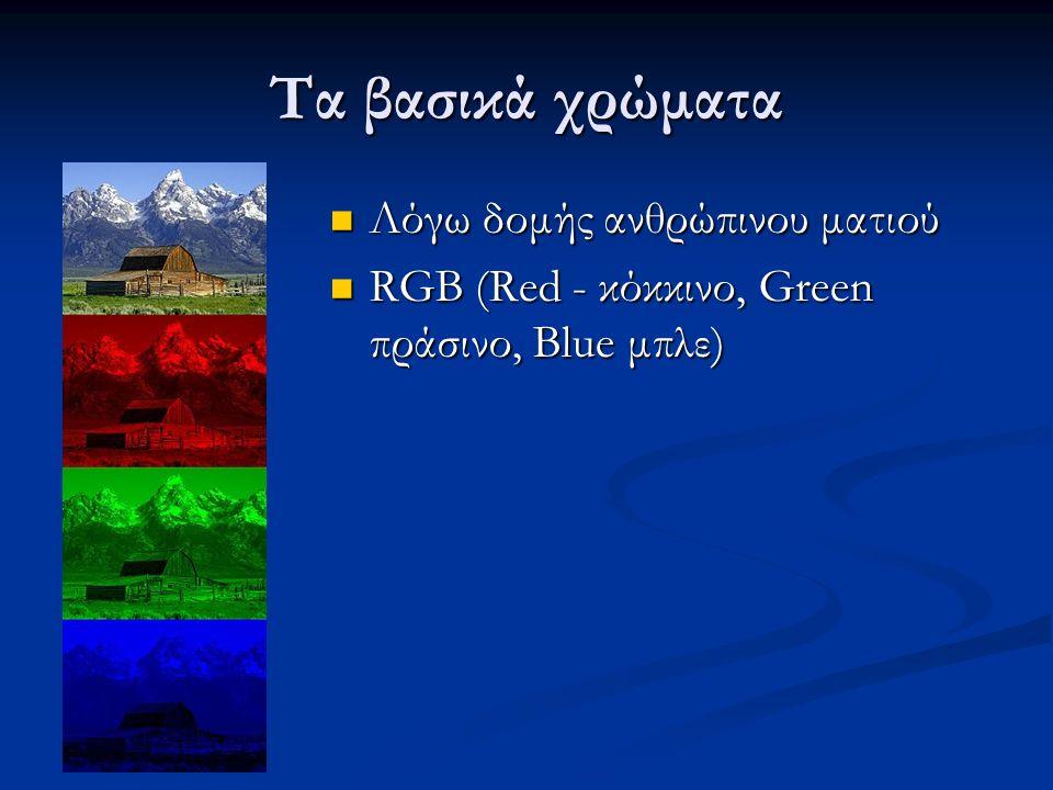 Τα βασικά χρώματα Λόγω δομής ανθρώπινου ματιού Λόγω δομής ανθρώπινου ματιού RGB (Red - κόκκινο, Green πράσινο, Blue μπλε) RGB (Red - κόκκινο, Green πράσινο, Blue μπλε)