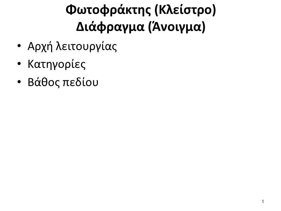 Φωτοφράκτης (Κλείστρο) Διάφραγμα (Άνοιγμα) Αρχή λειτουργίας Κατηγορίες Βάθος πεδίου 1