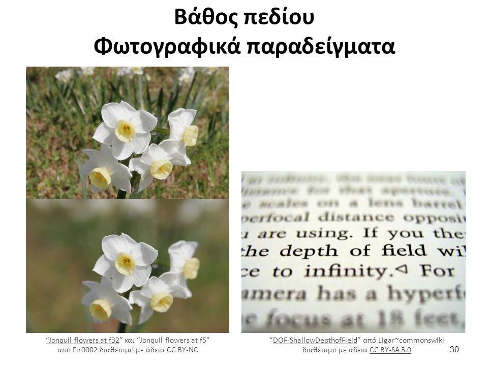 Βάθος πεδίου Φωτογραφικά παραδείγματα DOF-ShallowDepthofField από Ligar~commonswiki διαθέσιμο με άδεια CC BY-SA 3.0DOF-ShallowDepthofFieldCC BY-SA 3.0 Jonquil flowers at f32 Jonquil flowers at f32 και Jonquil flowers at f5 από Fir0002 διαθέσιμο με άδεια CC BY-NC 30