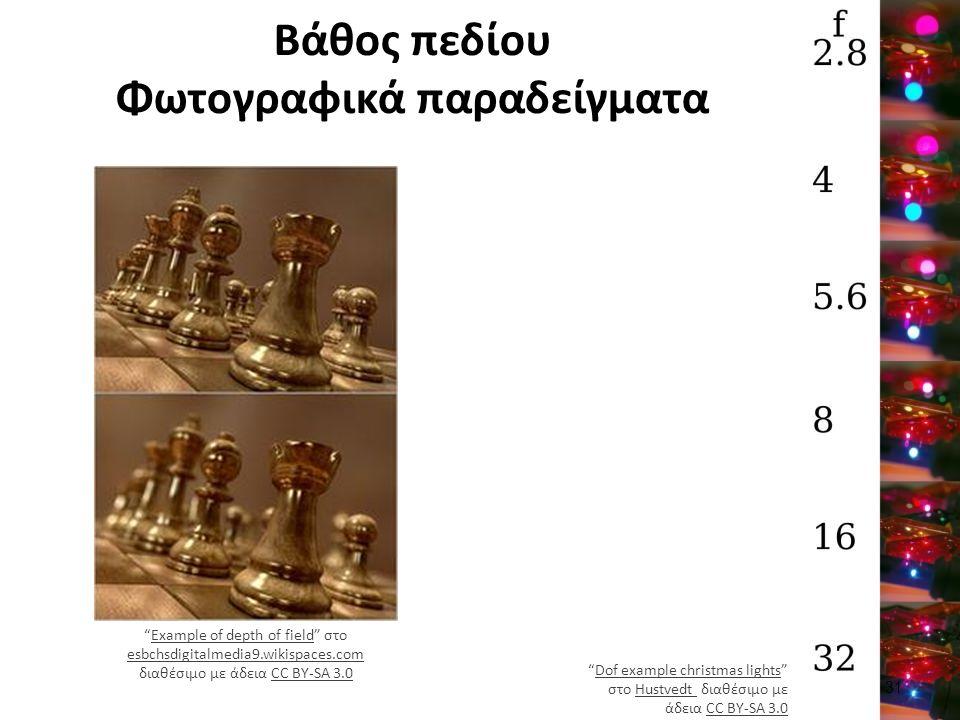 """Βάθος πεδίου Φωτογραφικά παραδείγματα """"Example of depth of field"""" στο esbchsdigitalmedia9.wikispaces.com διαθέσιμο με άδεια CC BY-SA 3.0Example of dep"""