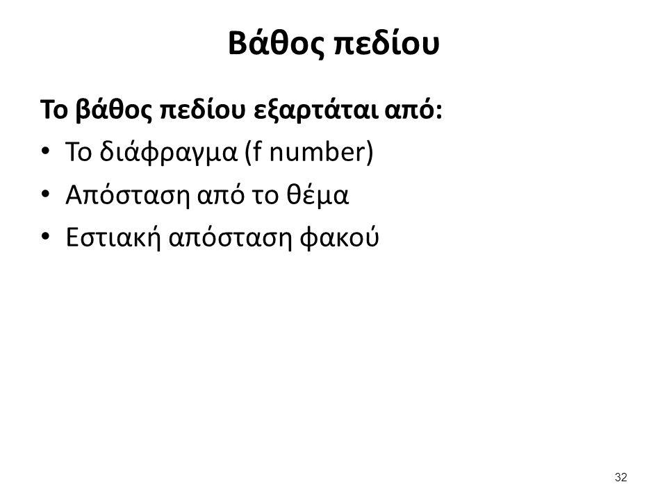 Βάθος πεδίου Το βάθος πεδίου εξαρτάται από: Το διάφραγμα (f number) Απόσταση από το θέμα Εστιακή απόσταση φακού 32