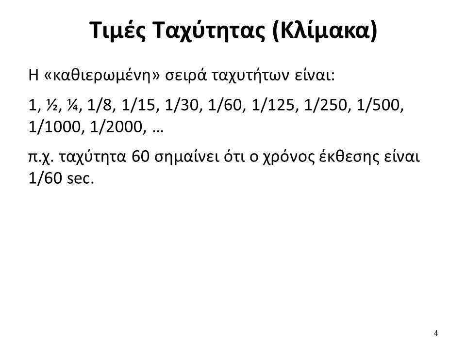 Τιμές Ταχύτητας (Κλίμακα) Η «καθιερωμένη» σειρά ταχυτήτων είναι: 1, ½, ¼, 1/8, 1/15, 1/30, 1/60, 1/125, 1/250, 1/500, 1/1000, 1/2000, … π.χ.