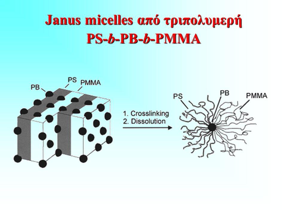 Janus micelles από τριπολυμερή PS-b-PB-b-PMMA