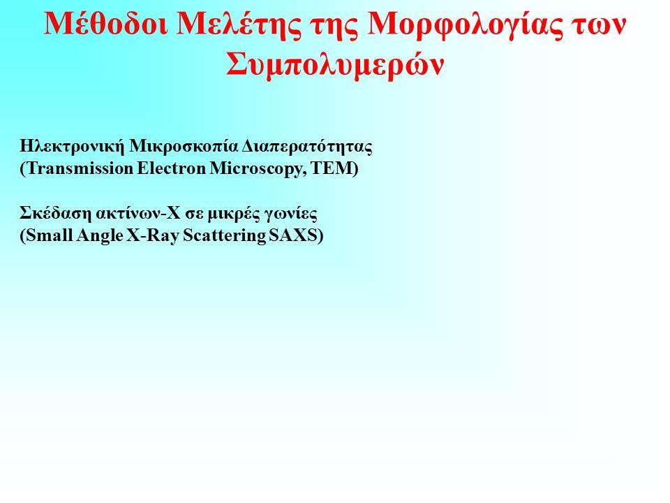 Μέθοδοι Μελέτης της Μορφολογίας των Συμπολυμερών Ηλεκτρονική Μικροσκοπία Διαπερατότητας (Transmission Electron Microscopy, TEM) Σκέδαση ακτίνων-Χ σε μικρές γωνίες (Small Angle X-Ray Scattering SAXS)